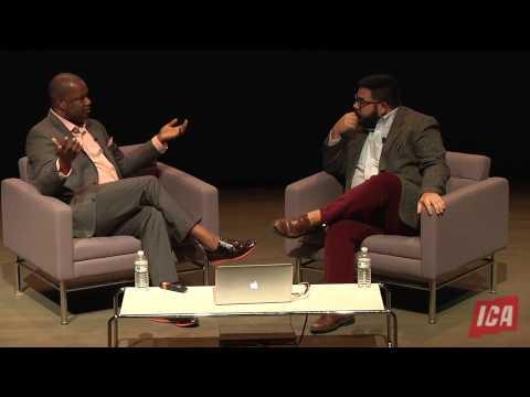 THE ARTIST'S VOICE: Steve Locke with Evan Garza at the ICA Boston