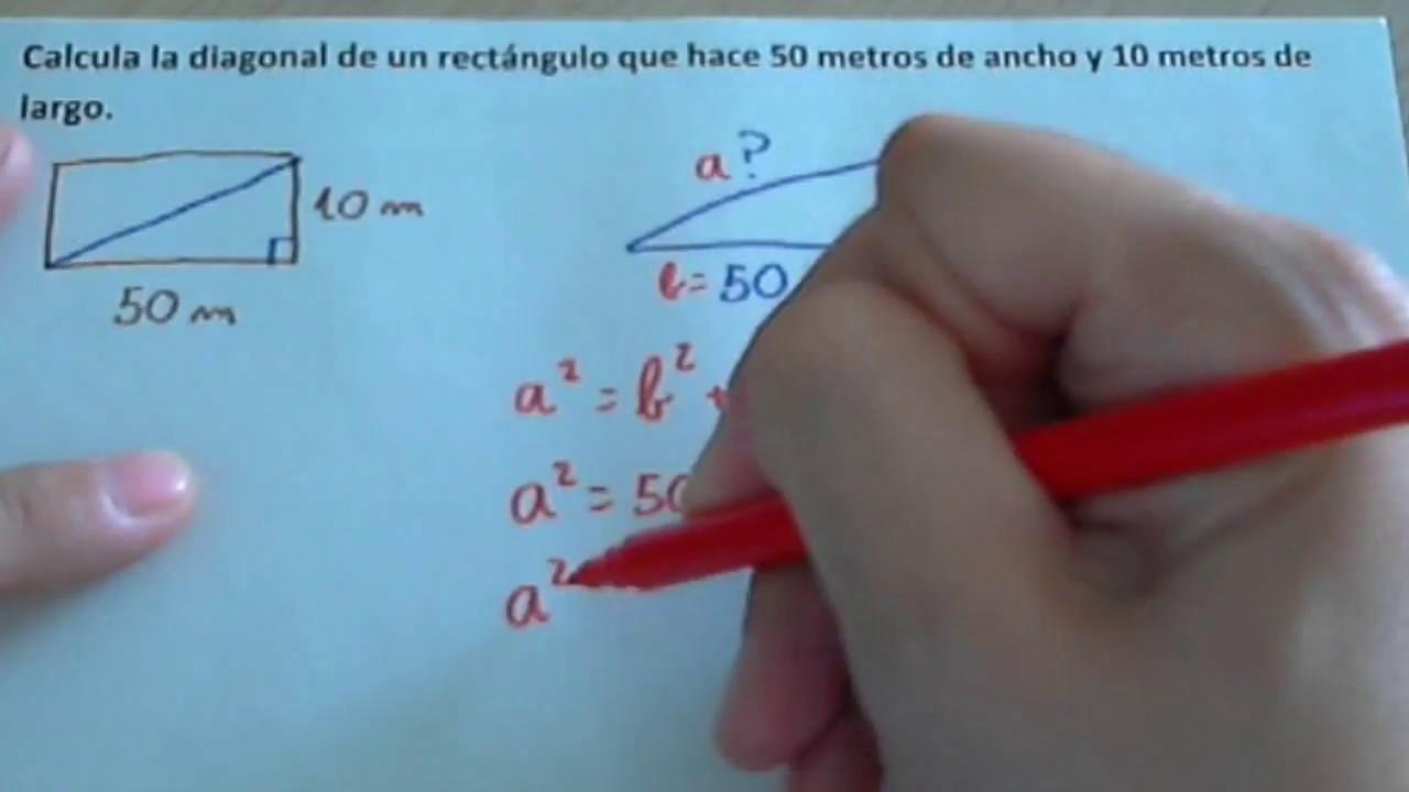 Calcular La Diagonal De Un Rectángulo O Cuadrado Y Problema De Calcular La Diagonal Youtube