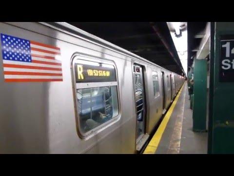 IND 6th Ave Line: R160B/R160A-2 R Train at 14th St-6th Ave (Weekend)