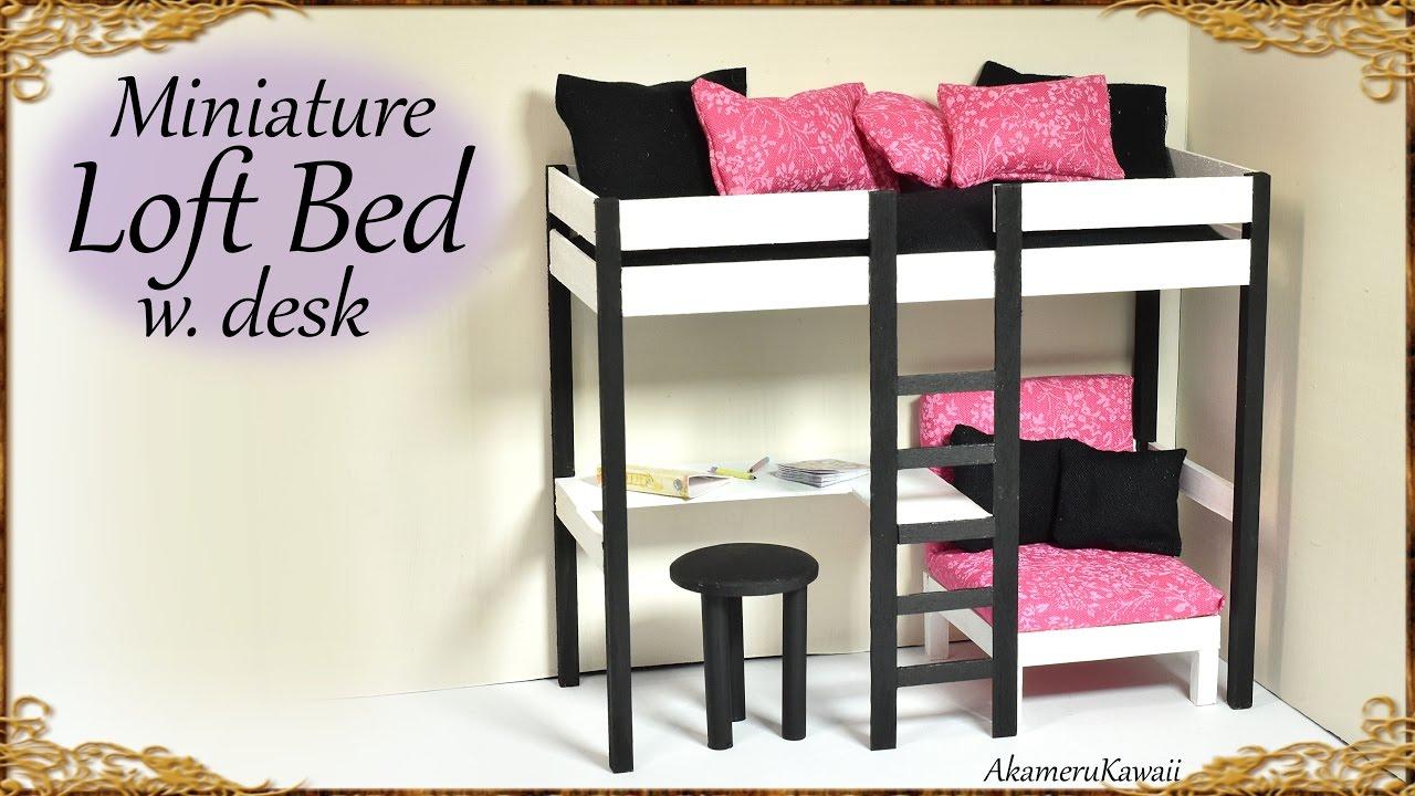 Cute Miniature Loft Bed Diy Doll Craft Tutorial Youtube