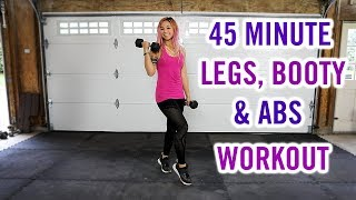 45 Minute KILLER Legs, Booty & Abs HOME Workout w/ Dumbbells
