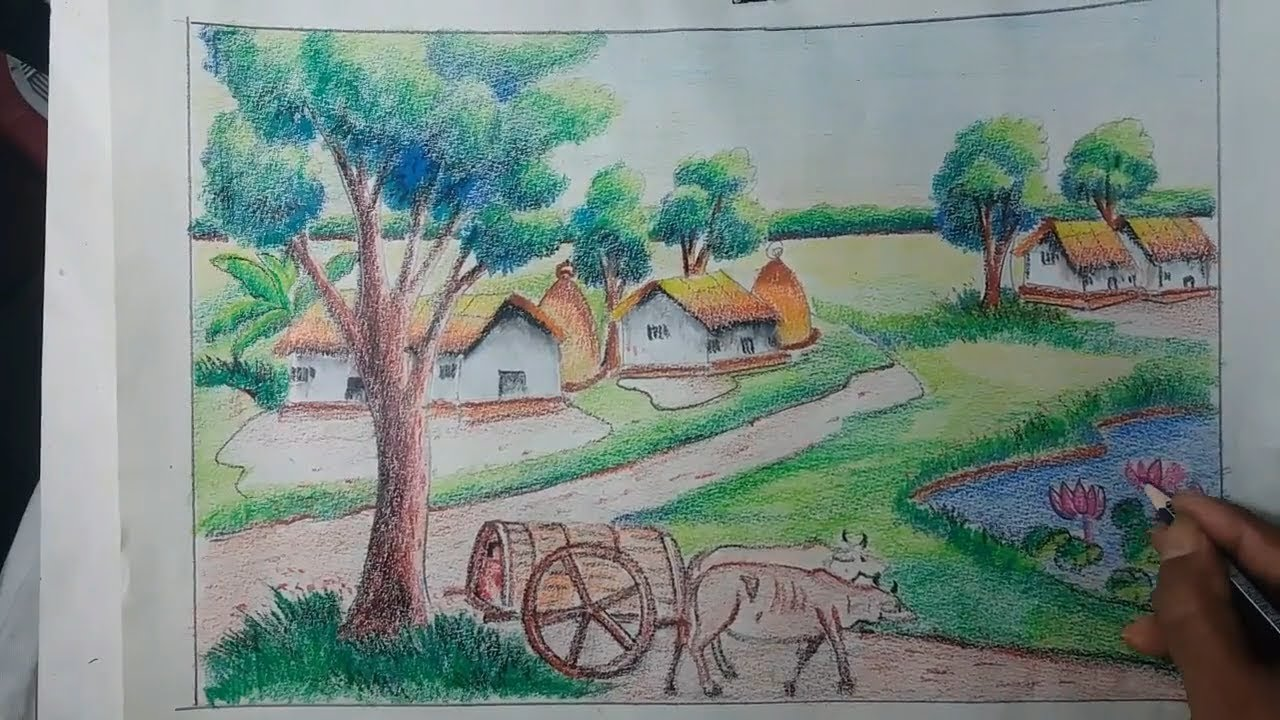 Scenery Village Colour Pencil Drawing