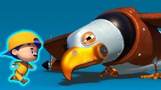 АнимаКары - ДЖОННИ мастерит шину для крыла ОРЛА САМОЛЁТА - мультфильмы с животными со зверюшками