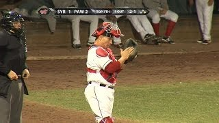 Christian Vazquez guns down the runner at second