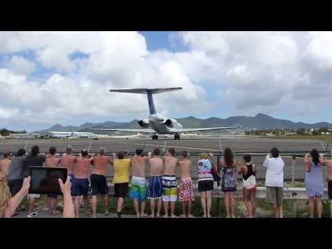 people get blown away at Maho Beach St-Maarten