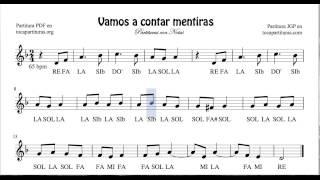 Video Vamos a contar mentiras Partitura con Notas Fácil Flauta Violín Oboe download MP3, 3GP, MP4, WEBM, AVI, FLV Mei 2018