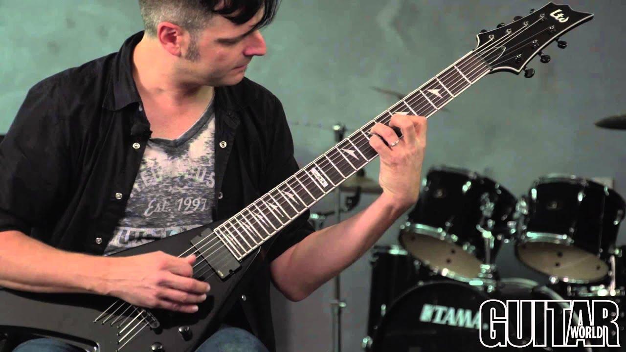 esp ltd v 407b baritone seven string guitar youtube