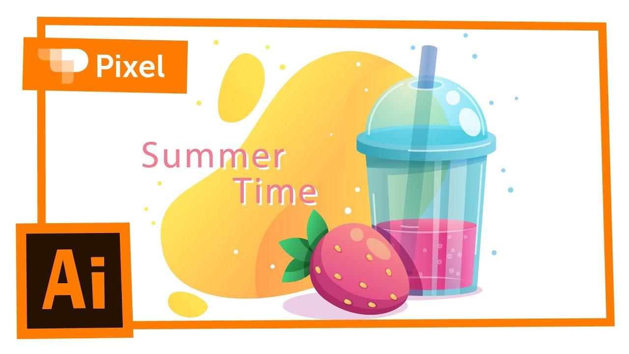 Рисуем летнюю иллюстрацию в Adobe Illustrator   уроки для новичков