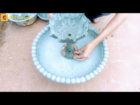 DIY flower pot with cement at home // flower pot combined with fish tank