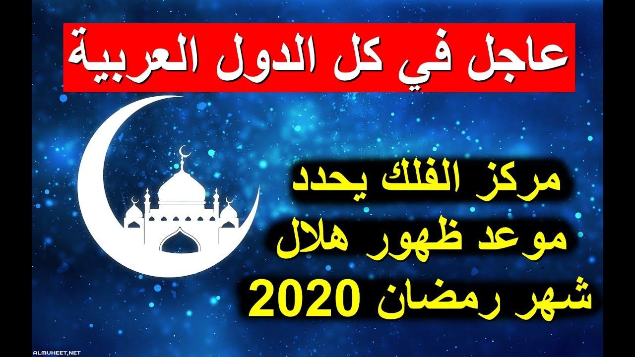 رؤية هلال رمضان 2020 1441 مركز الفلك يحدد موعد ظهور هلال شهر رمضان 2020 في الدول العربية Youtube
