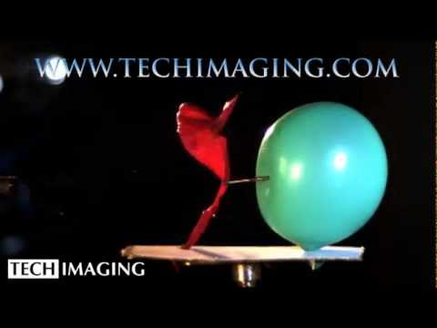 High Speed Camera Video - Nail through balloons