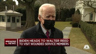 President Joe Biden heads to Walter Reed to visit wounded service members, talks Covid relief