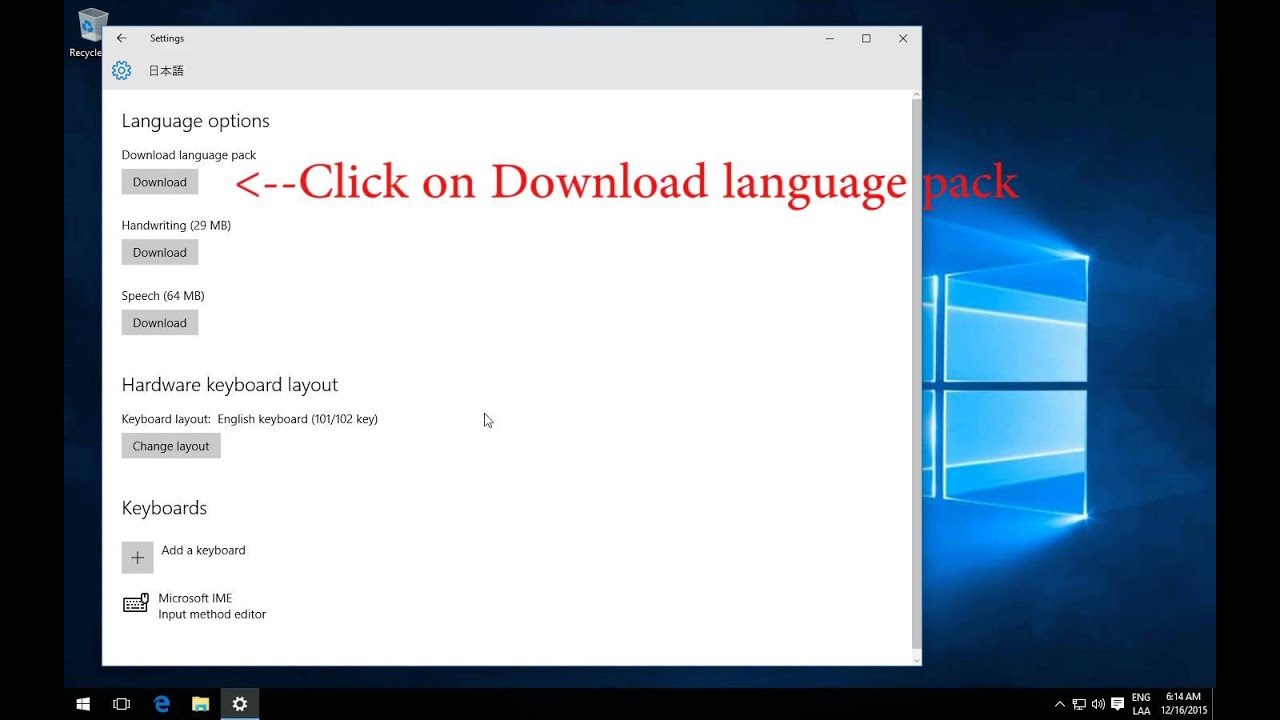 How to change Windows 10 language from English to Japanese