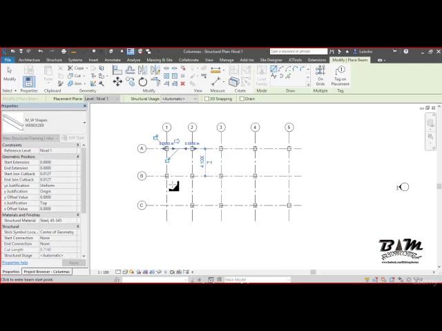 Revit Structures | 03 Generación de Vigas Estructurales 1