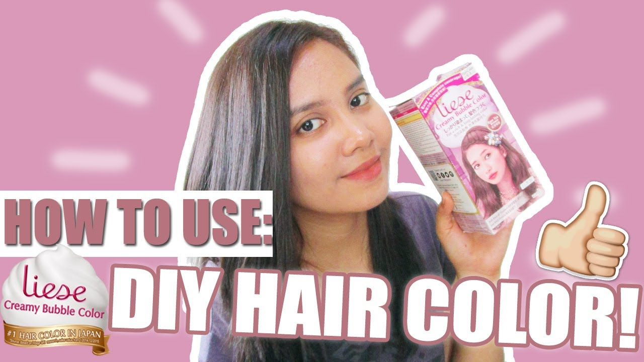 DIY HAIR COLOR! HOW TO USE Liese Creamy Bubble Color (in Rose Tea ...