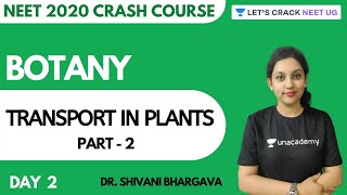 Transport in Plants | Part 2 | Crash Course for NEET 2020 | Day 2 | Botany | Dr. Shivani Bhargava
