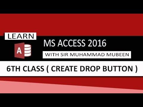 Ms Access 2016 Tutorials in Urdu/Hindi (Lesson 6 - Create Drop Button In Access )