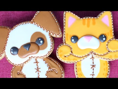 Kawaii Cookie Gift Set - Adorable 3 Piece Plush Kitten & Puppy Cookies