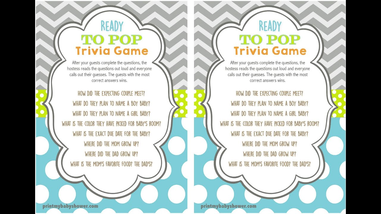 Ready To Pop Baby Shower Trivia Game Youtube