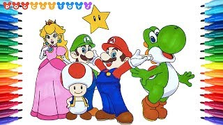 How to Draw Super Mario Bros, Mario, Yoshi, Luigi... #215 | Drawing Coloring Pages Videos for Kids