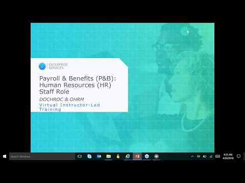 Enterprise Services Payroll and Benefits – Human Resources (HR) Staff's Role