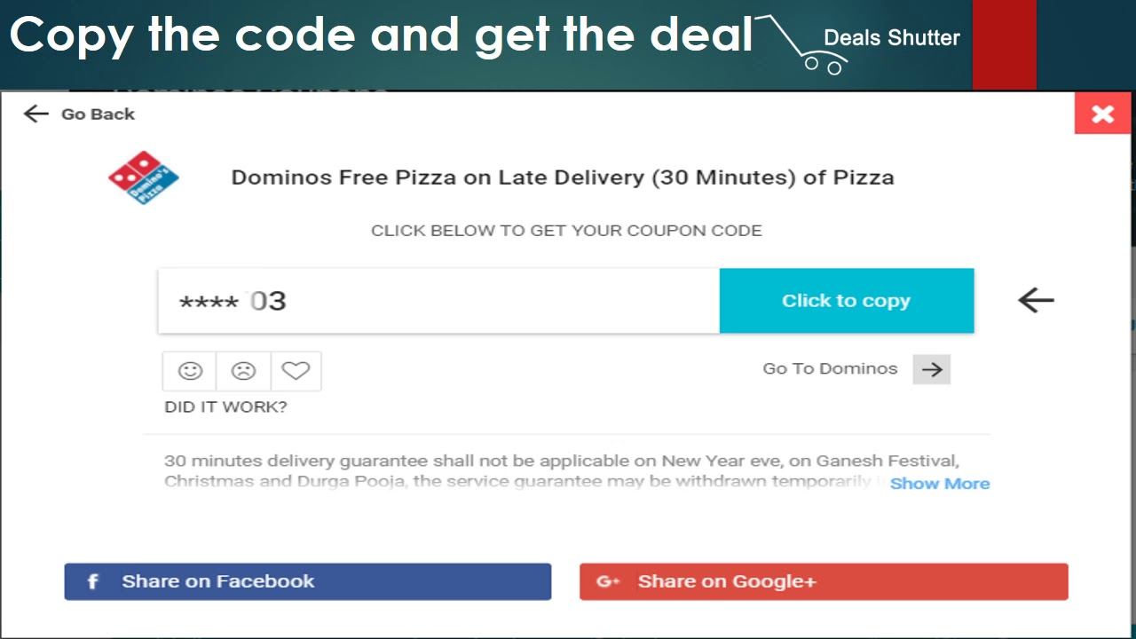 how to use Dominos Coupon from Dealsshutter.com - YouTube
