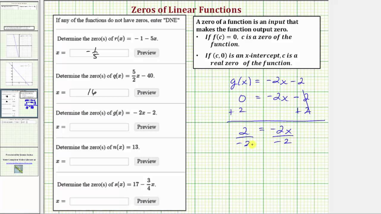 Ex 2 Determine The Zeros Of Linear Functions Youtube
