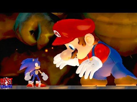 New Super SONIC Wii - SONIC VS. MARIO (Final Boss Fight, Sonic vs. Evil Mario)