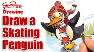 How to draw a Skating Penguin
