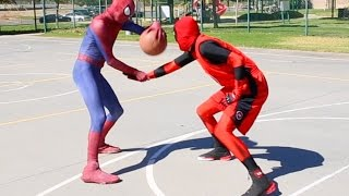 Repeat youtube video Spiderman vs Deadpool Basketball ...SuperHero Basketball
