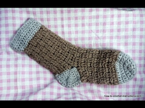 How to crochet a bedsock in basketweave stitch