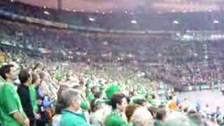 Republic of Ireland football fans sing the French anthem