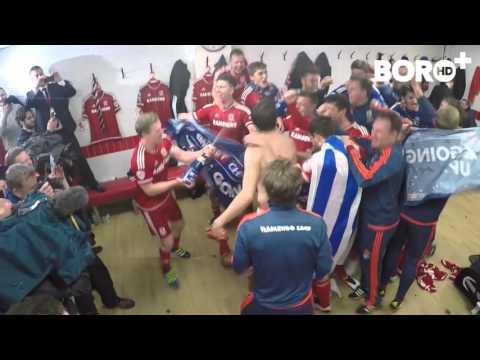 Celebrations in the Boro dressing room