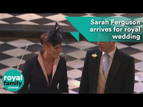 Sarah Ferguson arrives for the wedding of Prince Harry and M