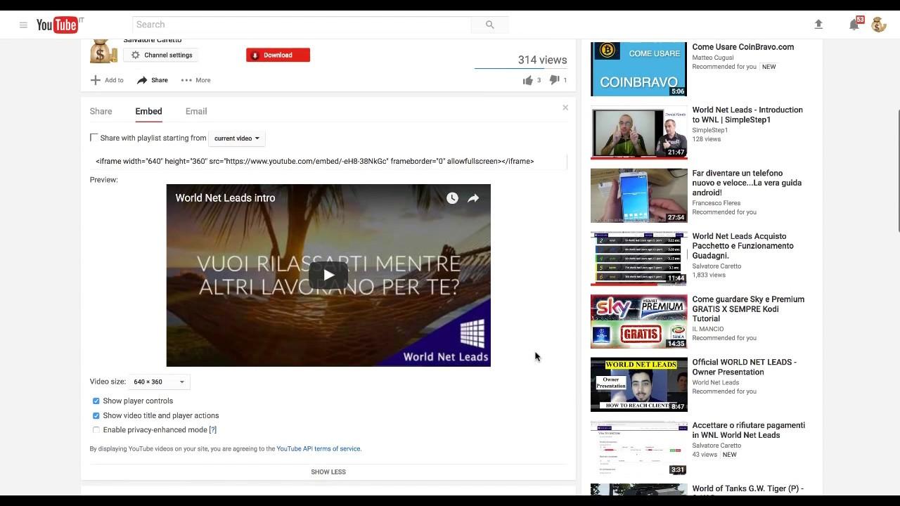 Trovare il Codice embed di un video su Youtube