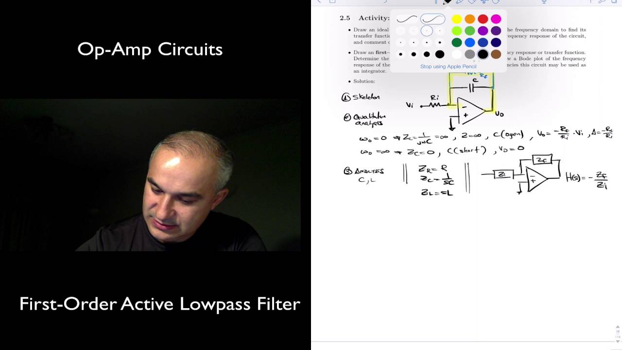 Op Amp Circuits First Order Active Low Pass Filter Youtube Rlc Circuit For Pinterest