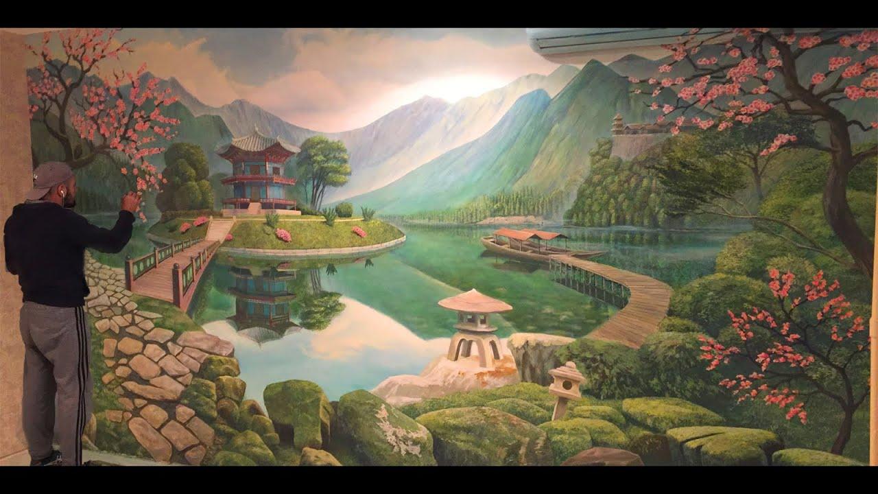 Художественная роспись стен,аэрография на японскую тему. Aerography.painting in the interior
