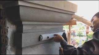 Contruction Skills House Beautiful | How to Render Columns With Sand and Cement