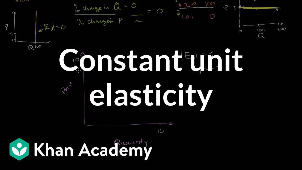 Constant unit elasticity | Elasticity | Microeconomics | Khan Academy