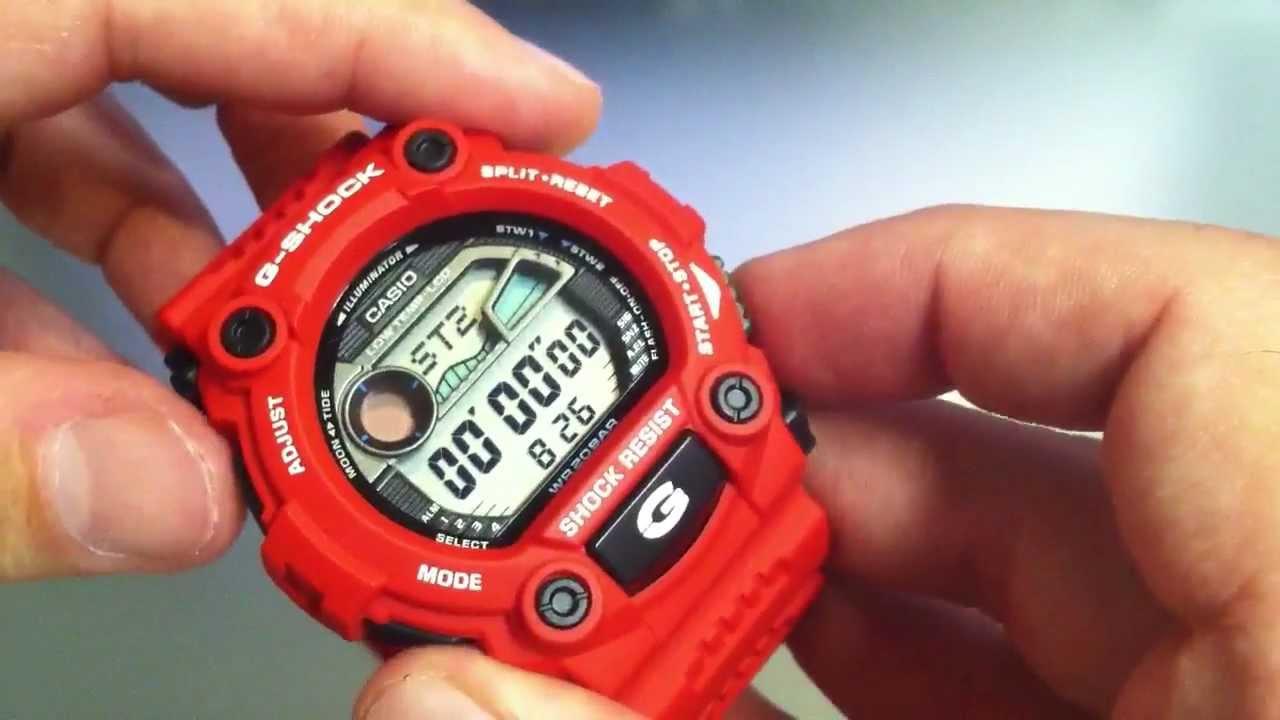 f4aa14a87 Red Casio G-Shock G-Lide G7900A-4 Tide Watch. - YouTube
