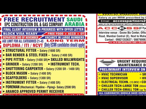 14th Nov 2018 OVERSEAS ASSIGNMENTS FREE GULF JOB WALKIN INTERVIEWS IN INDIA FOR KUWAIT, QATAR, KSA