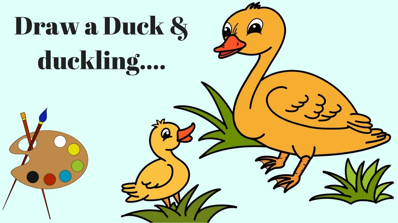 How to draw | Duck | duckling | Coloring pages birds | youtube ...