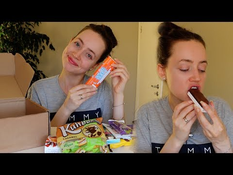 ASMR Whisper Eating Sounds |  Chocolate & Snacks | Vegan Tuck Box Review