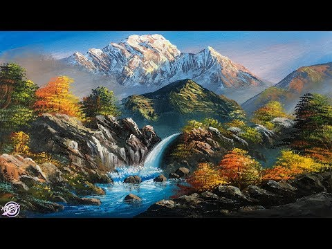 Waterfall Painting | Beautiful Acrylic Landscape Painting | Nature Painting | Scenery Painting | Art