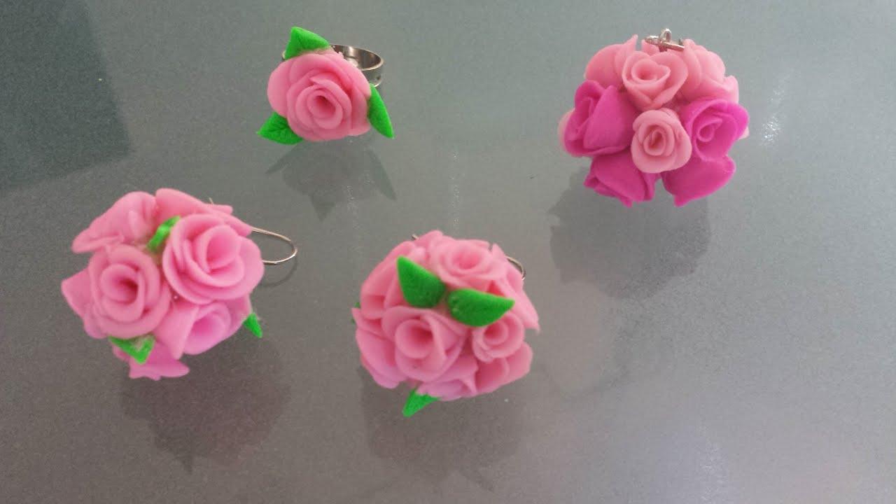 Rosen Ohrring Selber machen aus Fimo! - YouTube