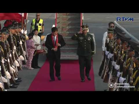 Arrival of Lao People's Democratic Republic Prime Minister Thoungloun Sisoluith 4/28/2017