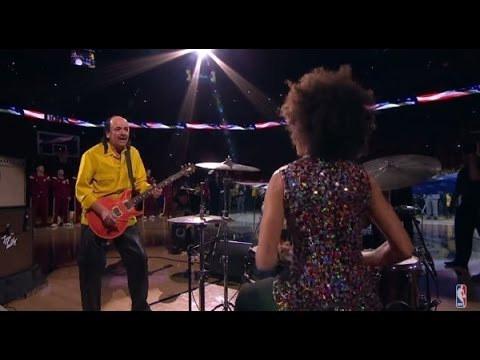 Cindy Blackman and Carlos Santana Perform The National Anthem at Oracle Arena