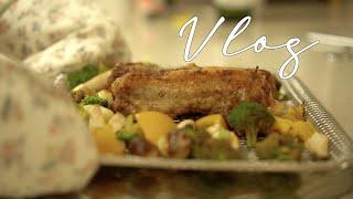 [Vlog] 매콤치즈불닭 해먹고 에어프라이어 통삼겹요리…