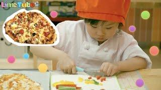 꼬마 요리사 라임 토마토 피자를 만들다! 쿠킹클래스 피자만들기 요리 먹방 놀이  LimeTube & Toy 라임튜브