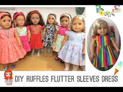 "DIY ruffle flutter sleeve dress sewing tutorials for 18"" dolls  with free printable patterns"